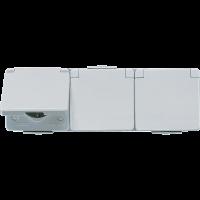 JUNG Штепсельная розетка SCHUKO для накладного монтажа тройная горизонтальная IP44