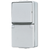 JUNG Штепсельная розетка SCHUKO для накладного монтажа с универсальным выключателем IP44