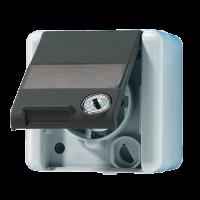 JUNG Штепсельная розетка SCHUKO с замочным механизмом для накладного монтажа IP44