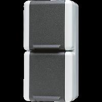 JUNG Двойная вертикальная SCHUKO-розетка 16A 250V~ для накладного монтажа IP44