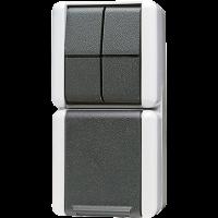 JUNG Комбинация - розетка и сдвоенный выключатель; для накладного монтажа IP44